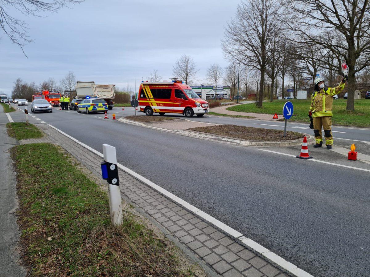 Verkehrsunfall auf der Bundesstraße 74 am 29. März 2021